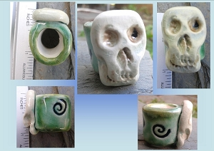1 Large Hole Ceramic Skull Macrame Bead Sea Turquoise Green Dreadlock Dread Sugar Skull Fibre Arts Pottery