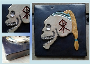 Viking Skull Ceramic Decorative Norse Tile Pewter Pearl Warrior Rune Wall Decor Scandanavian Mosaic