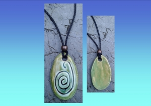 Taino Snail Caracol Necklace Ceramic Bead Turquoise Green Petroglyph Symbol Caribbean Water Amulet