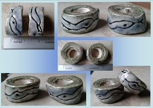 Set 2 Snake Ceramic Macrame Beads Blue Gray Rustic Large Hole Dread Dreadlock Petroglyph Clay Pottery Beads