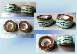 Set 2 Snake Ceramic Macrame Beads Rustic Large Hole Dread Dreadlock Petroglyph