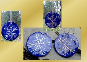 2 Gold Silver Snowflake Ceramic Christmas Ornaments Cobalt Blue Pottery Holiday Decorations