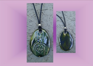 Hopi Spider Necklace Anasazi Pendant Ceramic Petroglyph Pewter Green Native American Cave Art