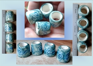 Set 4 Teal Turquoise Ceramic Macrame Beads Celtic Spiral Dreadlock Dreads Large Hole Pottery