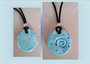 Celtic Spiral Necklace Turquoise Ceramic Pendant Clay Pottery Amulet Beach Surfer