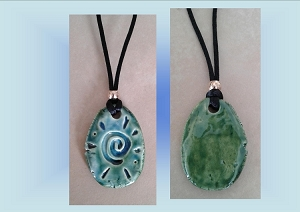 Celtic Spiral Necklace Turquoise Green Ceramic Pendant Clay Pottery Amulet Beach Surfer
