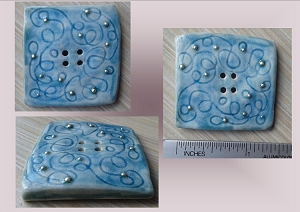 1 Large Square Teal Turquoise Porcelain Button with Fine Silver Sewing Knitting Accessories