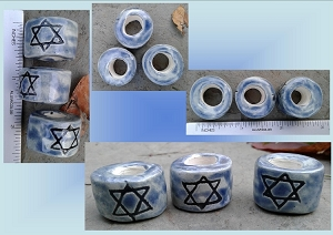 Set 3 Star of David Macrame Beads Large Hole Blue Ceramic Judaic Beads Dreads Dreadlocks Fibre Projects