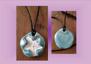 Starfish Necklace Sea Turquoise Aromatherapy Clay Pendant Essential Oil Diffuser Disc Ceramic Boho