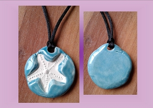 Starfish Necklace Caribbean Blue Aromatherapy Clay Pendant Essential Oil Diffuser Disc Ceramic Boho