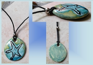 Sea Turquoise Ceramic Starfish Necklace Beach Boho Pendant