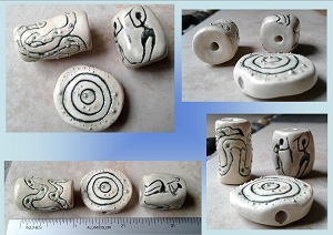 Set 3 Tribal Ceramic Pendants Serpent Snake Truth Stone Cave Art Clay Beads Amulets for Jewelry Making