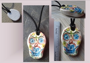 Porcelain Sugar Skull Pendant Necklace Ceramic Calavera Day of the Dead