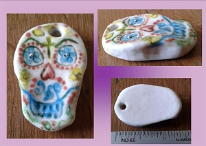 Sugar Skull Pendant Porcelain Skull Bead with Fine Silver Calavera Day of the Dead Ceramic Skull DIY Jewelry