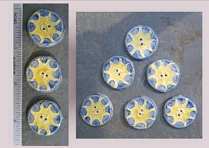 6 Ceramic Buttons, Sun Pottery Buttons, Blue Yellow Buttons, Solar Ceramic Stone Buttons, Handmade Clay Buttons