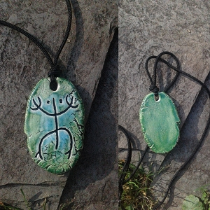 Taino Coqui Frog Necklace Turquoise Green Ceramic Petroglyph Pendant