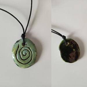 Taino Snail Necklace Ceramic Amulet Sea Green Petroglyph Caribbean Water Pendant .2
