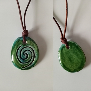 Taino Snail Necklace Turquoise Green Ceramic Amulet Petroglyph Caribbean Water Pendant
