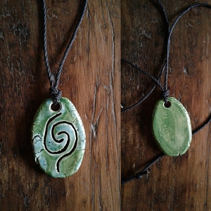 Taino Snail Necklace Ceramic Bead Sea GreenPetroglyph Symbol Caribbean Water Symbol Arawak Art