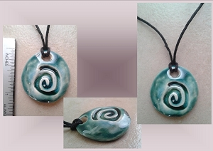 Teal Sacred Spiral Ceramic Necklace Pendant Clay Pottery Bead Celtic Pagan Symbol