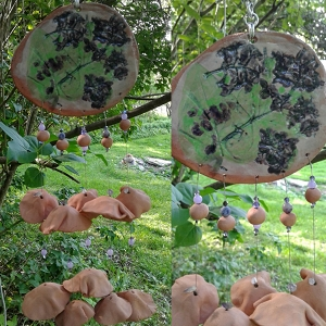 Terra Cotta Wind Chime Pottery Chimes Garden Mobile Decor .2