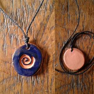 Terra Cotta Spiral Aromatherapy Necklace Blue Essential Oil Diffuser Clay Pendant