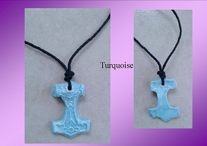 Thor's Hammer Necklaces Viking Pendants Blue Cobalt Turquoise Red Ceramic Mjolnir Norse Amulets