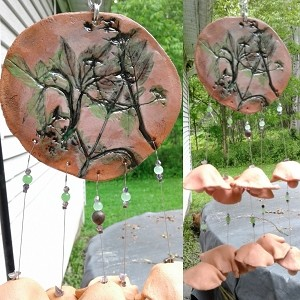 Terra Cotta Wind Chime Pottery Chimes Garden Mobile Decor