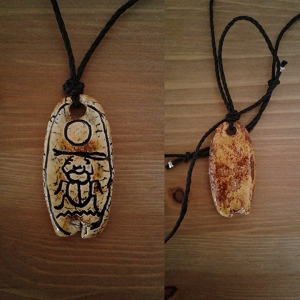 Thutmose II Necklace Egyptian Cartouche Hieroglyph Amulet  Ceramic Pendant
