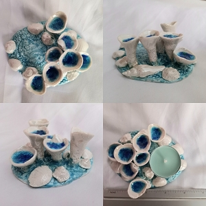 Porcelain Sea Barnacle Tidal Pool Tea Lite Holder Seaglass Shells Beach Decor .3