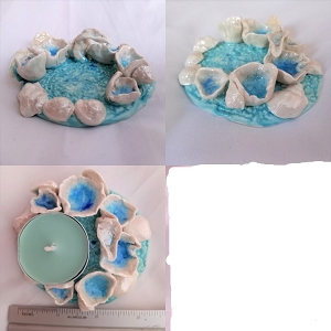 Porcelain Sea Barnacle Tidal Pool Tea Lite Holder Seaglass Shells Beach Decor
