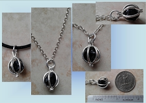 Black Tourmaline Locket Necklace Black Stone Pendant Crystal Healing Stone Psychic Shield