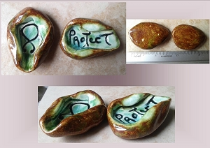 Set 2 Ceramic Worry Stones Norse Troll Cross Anxiety Relief Pocket Palm Pebbles Viking Warrior