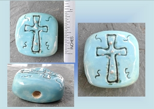 Turquoise Cross Ceramic Pendant Sacred Christan Amulet Religious Clay Focal Beads