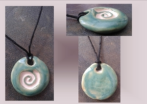 Turquoise Green Sacred Spiral Ceramic Essential Oil Diffuser Necklace Aromatherapy Pendant Amulet