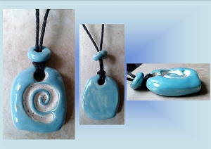 Turquoise Sacred Spiral Ceramic Aromatherapy Necklace Essential Oil Diffuser Pendant Clay Pottery