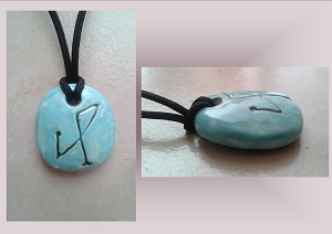Turquoise Archangel Michael Necklace Angel Sigil Ceramic Pendant Clay Pottery Amulet Sacred Protection Jewelry