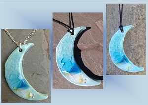 Crescent Moon Necklace, Turquoise Sea Glass Moon Pendant, Blue Beach Jewelry, Silver Ocean Amulet, Beach Statement Necklace, Sea Moon Amulet