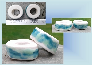 Set 2 Turquoise Porcelain Macrame Beads Rustic Large Hole Dread Dreadlock Clay Pottery Beads