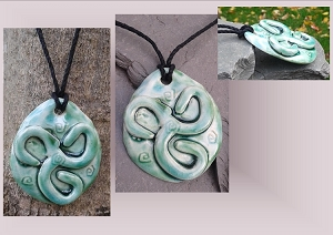 Teal Spiral Necklace Turquoise Ceramic Pendant Stone Pottery Jewelry Ancient Celtic Amulet