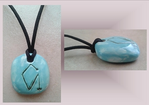 Turquoise Archangel Uriel Necklace Angel Sigil Ceramic Pendant Clay Pottery Amulet Sacred Protection Jewelry