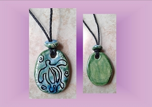 Sea Turtle Necklace Hawaiian Pendant Ceramic Petroglyph Turquoise Green Pacific Cave Art Ancient Rock Drawings