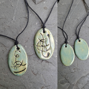 Set 2 Twin Flame Atlantean Necklaces Sigil Eternal Love Amulets Sea Green Ceramic Pendants Ancient Symbols