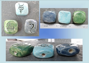 Set 3 Ceramic Pendants Admetus Apollon Saturn Glyphs Sacred Symbols Uranian Astrology Blue Turquoise Green Beading Projects