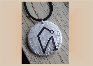 Angel Uriel Necklace, Archangel Sigil Metal Pendant, Aluminium Etching, Sacred Protection Amulet