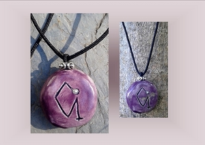 Angel Uriel Necklace, Archangel Sigil Purple Pendant, Sacred Protection, Ceramic Jewelry, Pottery Focal Beads