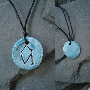 Archangel Uriel Necklace Turquoise Angel Pendant Sacred Sigil Ceramic Amulet