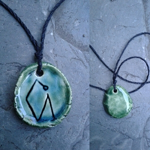 Archangel Uriel Necklace Turquoise Green Angel Pendant Sacred Sigil Ceramic Amulet