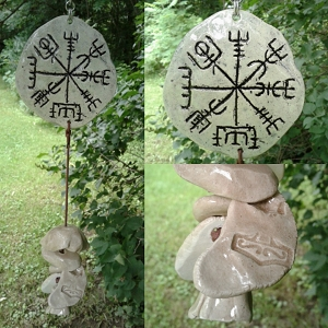 Vegvisir Clay Wind Chime Ceramic Viking Chimes Icelandic Galdrastafur Norse Pottery