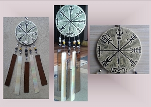 Vegvisir Glass Wind Chime Ceramic Icelandic Runic Compass Galdrastafur Stained Glass Mobile Garden Decor